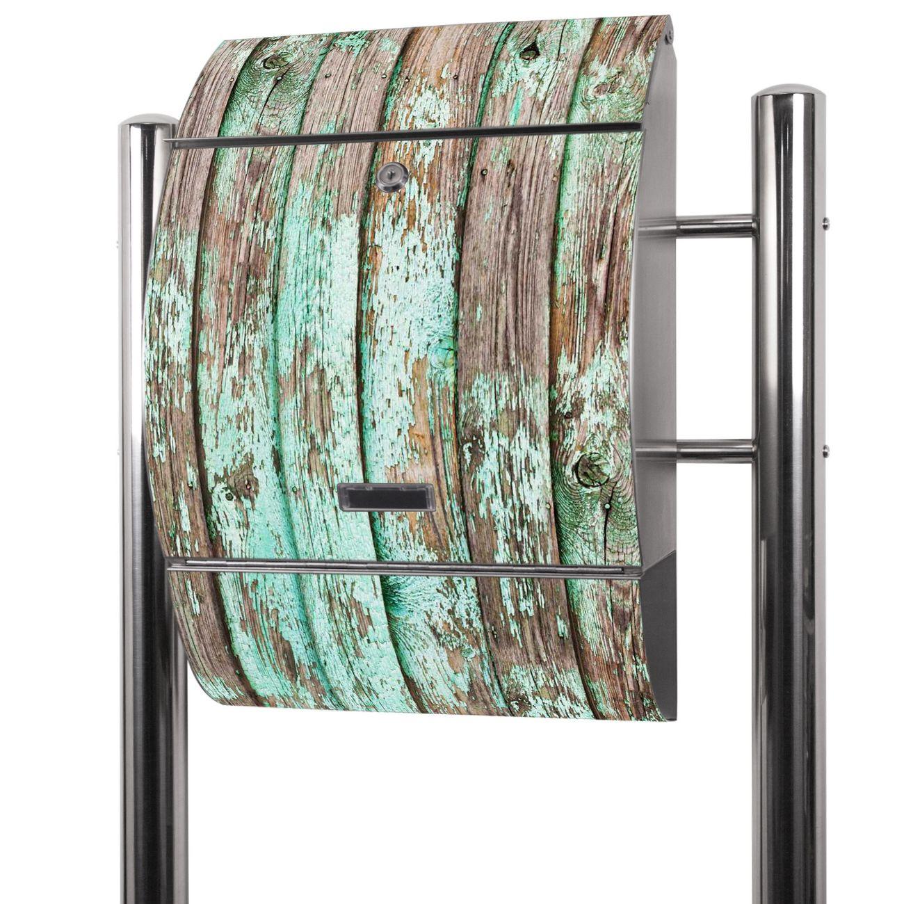 Edelstahl Standbriefkasten Verwittertes Holz