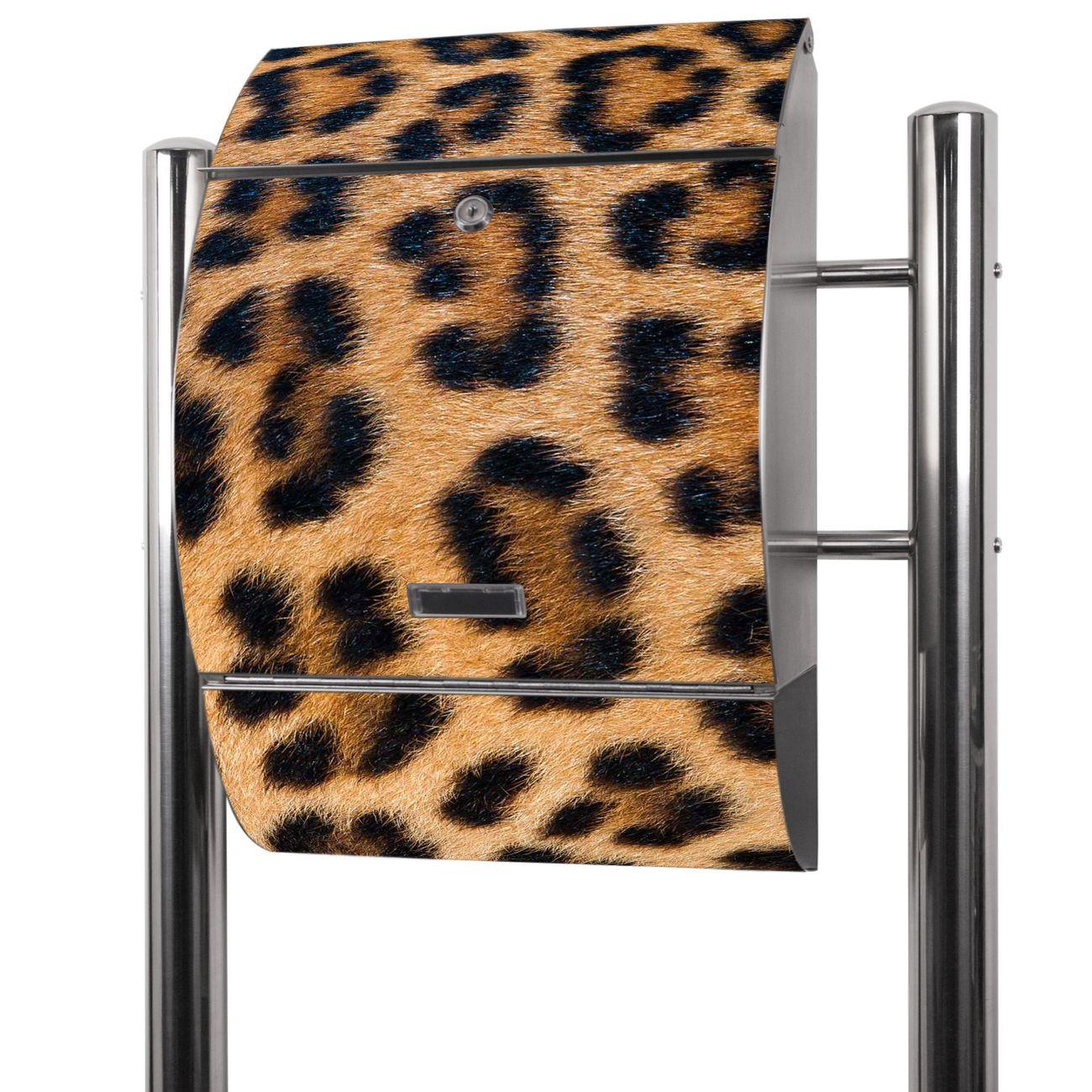 Edelstahl Standbriefkasten Leopardenfell