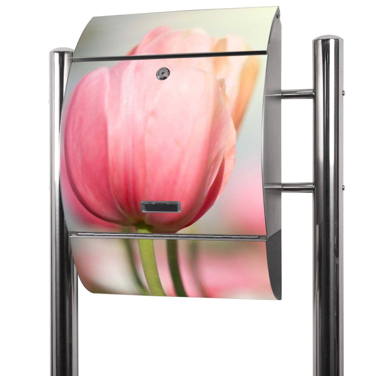 Edelstahl Standbriefkasten Tulpen