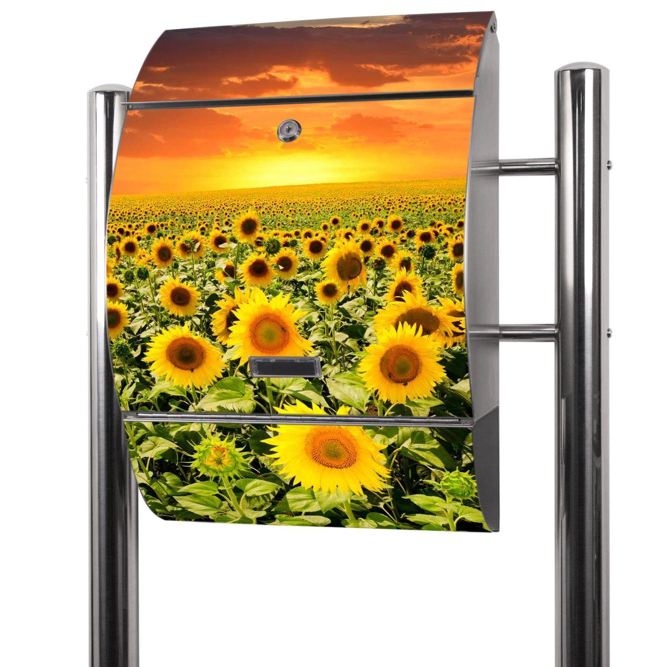 Edelstahl Standbriefkasten Sonnenblumenmeer