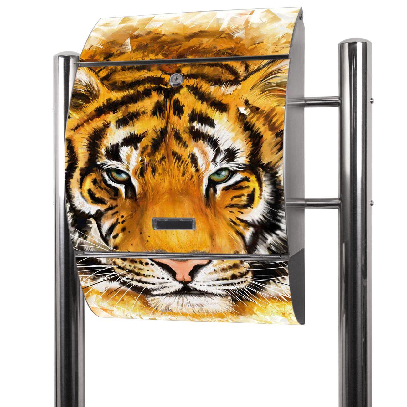 Edelstahl Standbriefkasten Tigerkopf