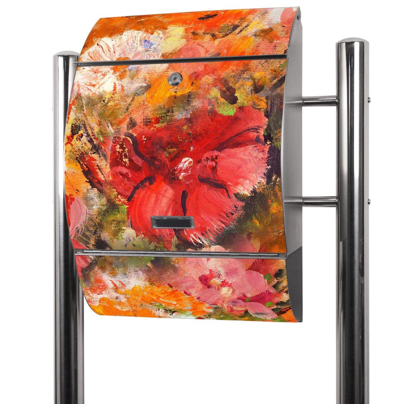 Edelstahl Standbriefkasten Fallende Blumen