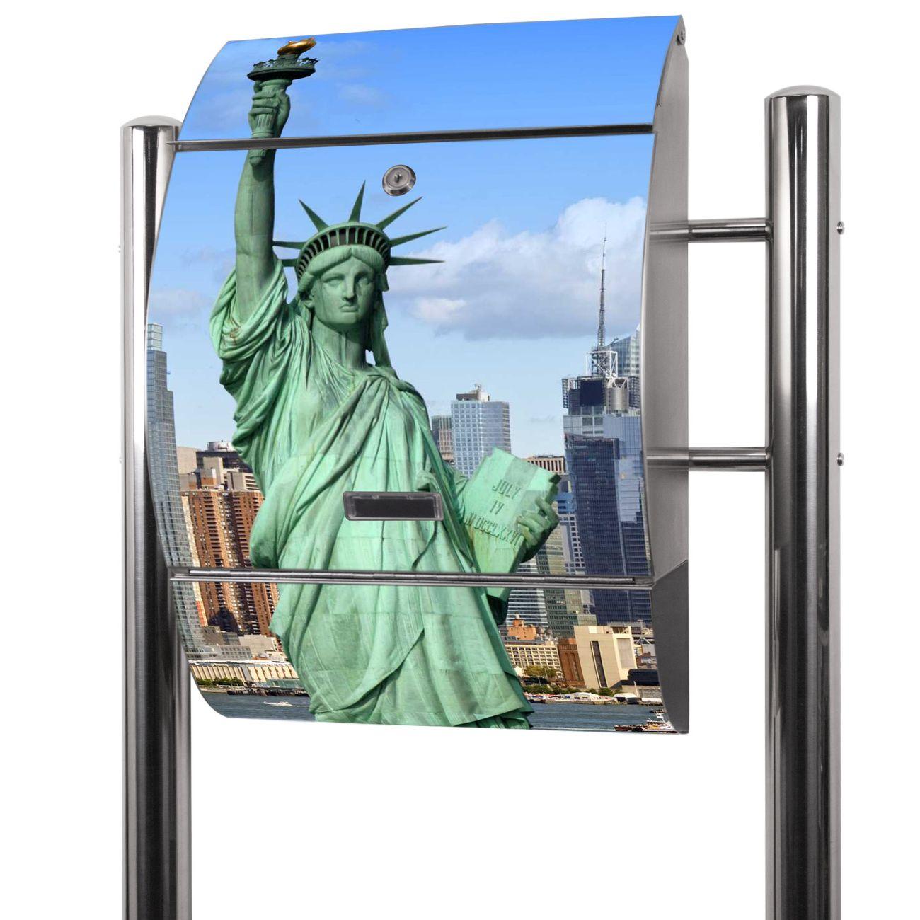 Edelstahl Standbriefkasten Welcome To NY