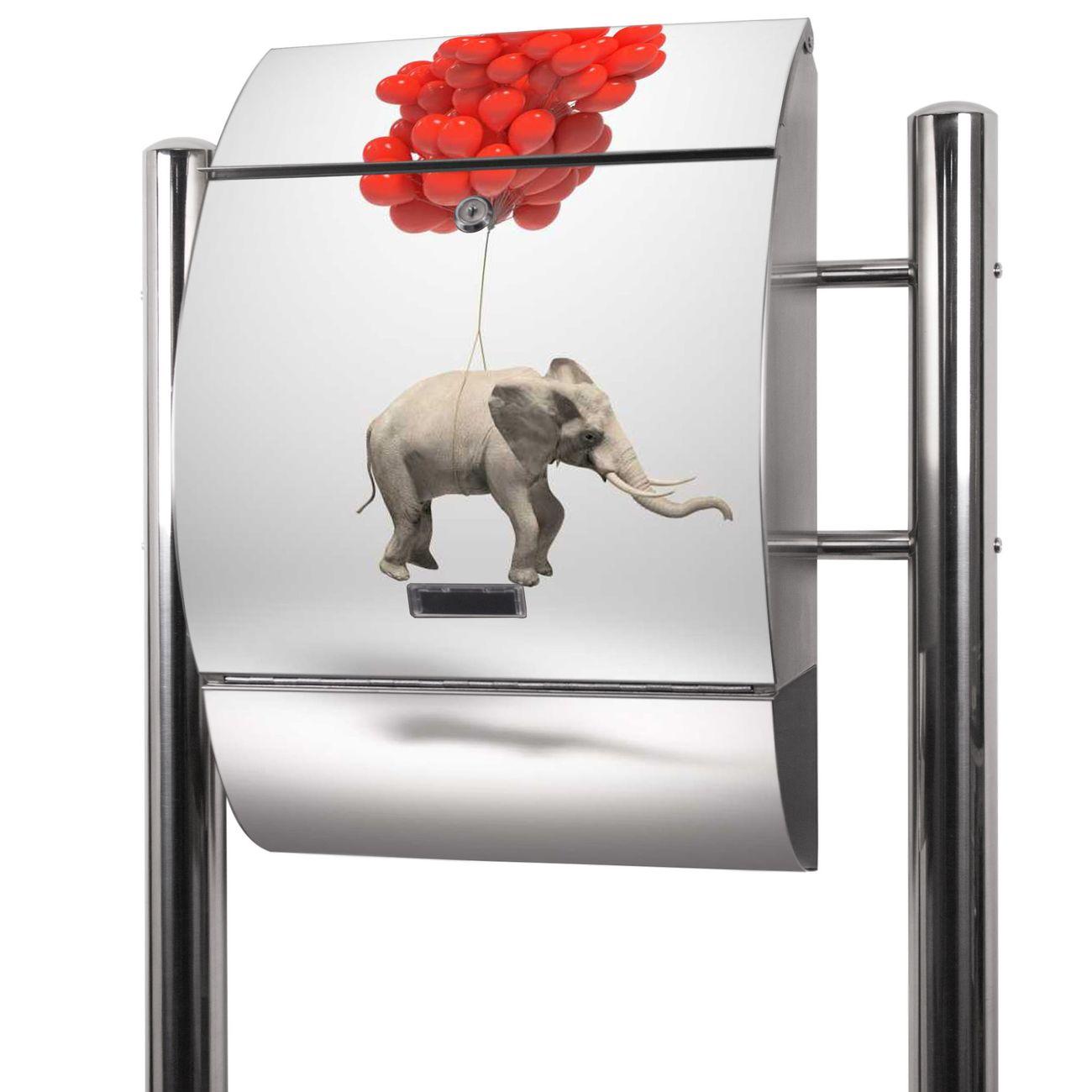 Edelstahl Standbriefkasten Fliegender Elefant
