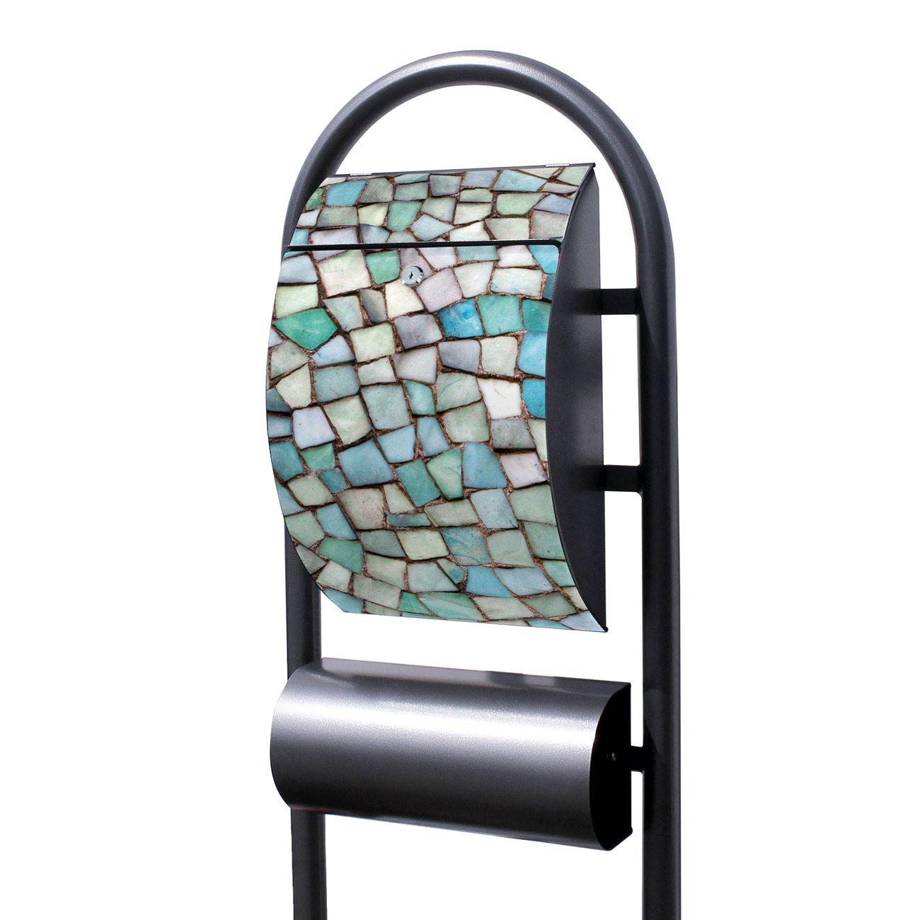 Standbriefkasten Hammerschlag Mosaik Blau