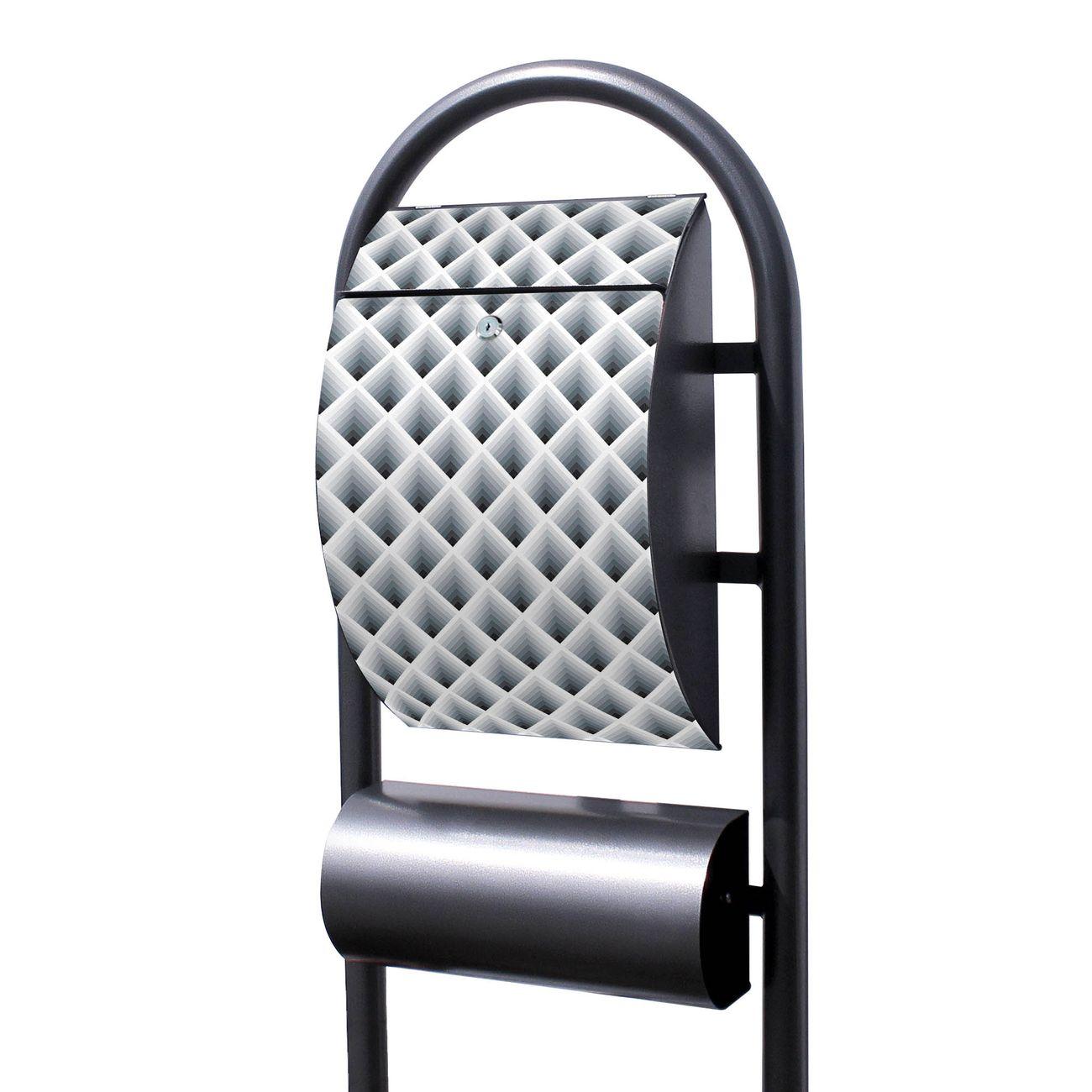 Standbriefkasten Hammerschlag Raster 3D Grau