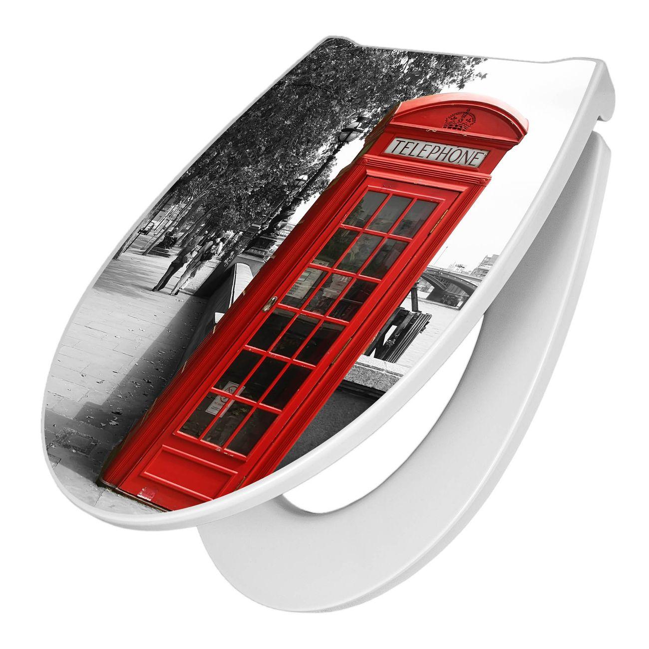 Premium WC-Sitz Softclose Absenkautomatik Motiv London Red Telephone