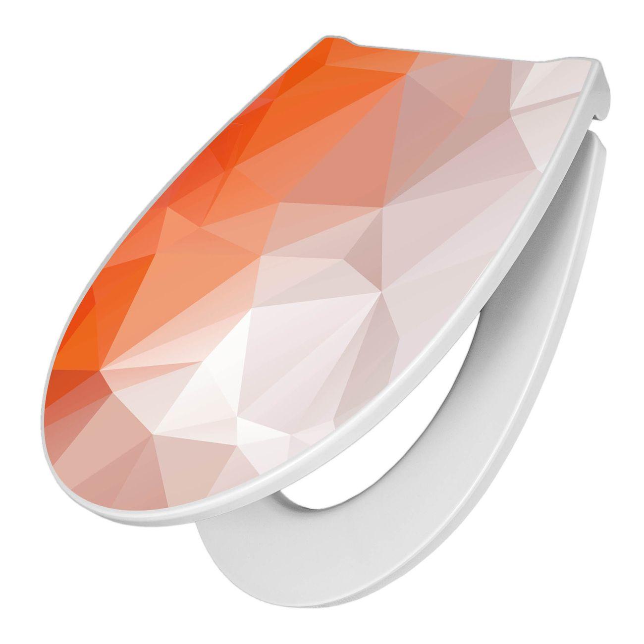 Premium WC-Sitz Softclose Absenkautomatik Motiv Orange Polygon