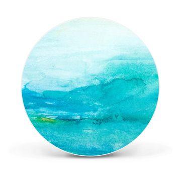 Magnettafel rund 47cm Aquarell Blau