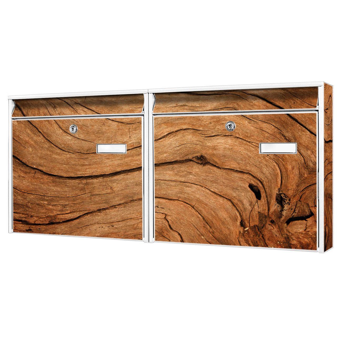 Doppelbriefkasten quer Trockenes Holz