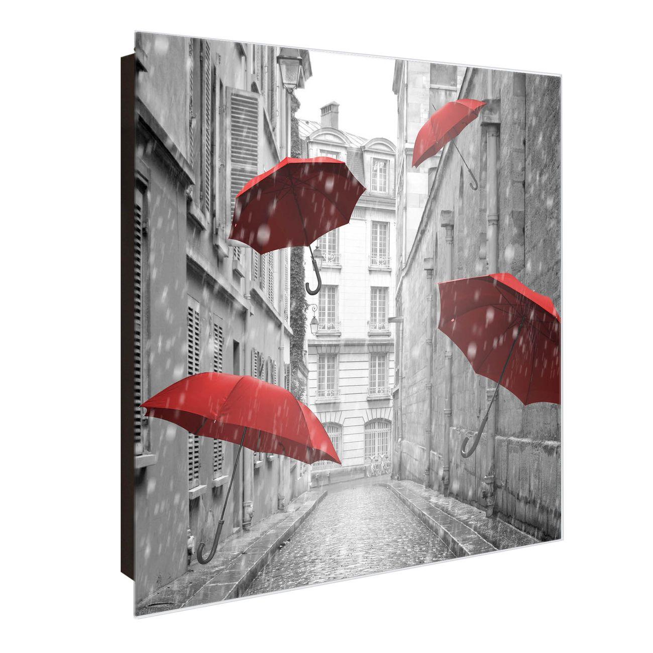 Schlüsselkasten Glas Motiv Rote Schirme