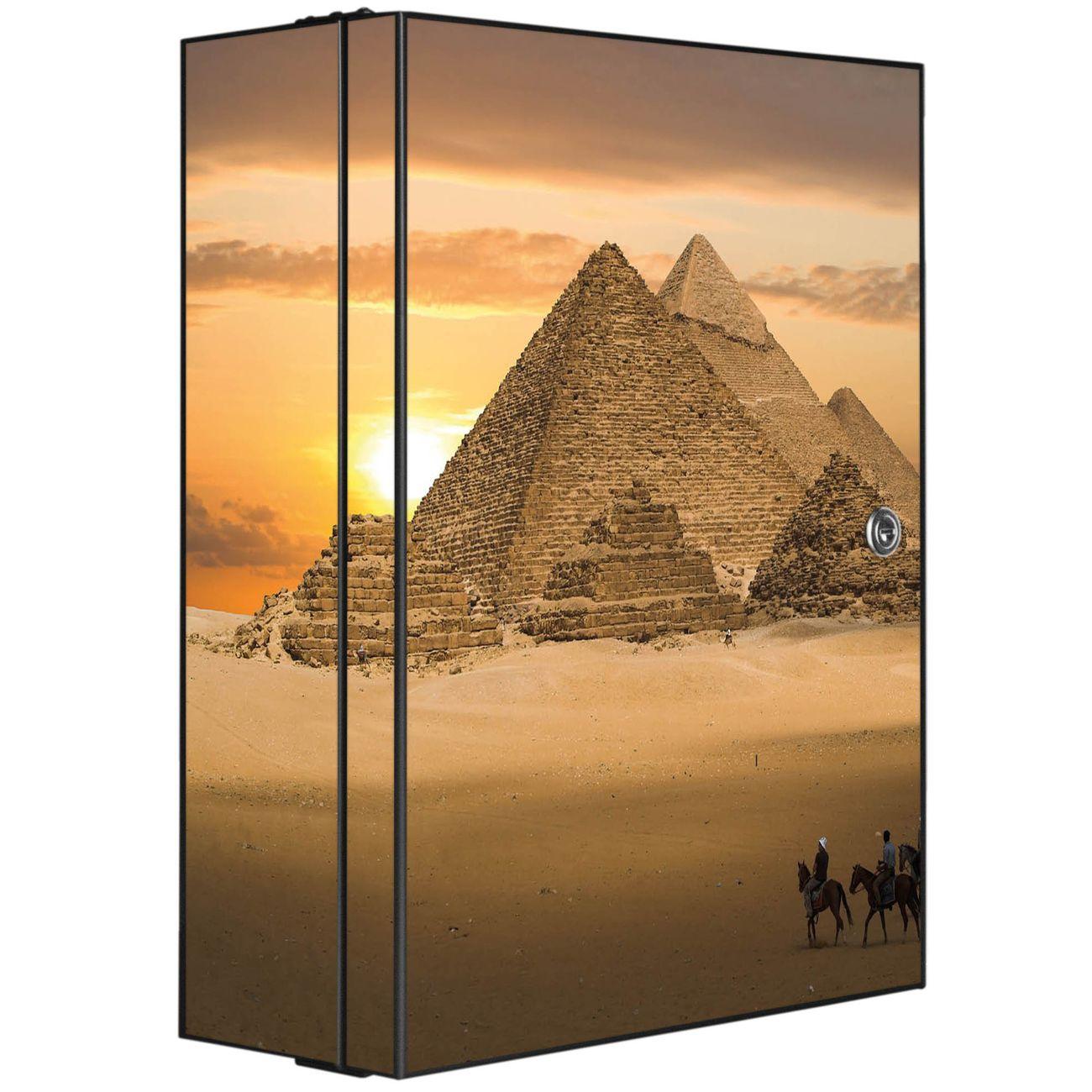 Medizinschrank Stahl Motiv Pyramiden