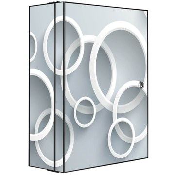 Medizinschrank Stahl Motiv Weiße Ringe