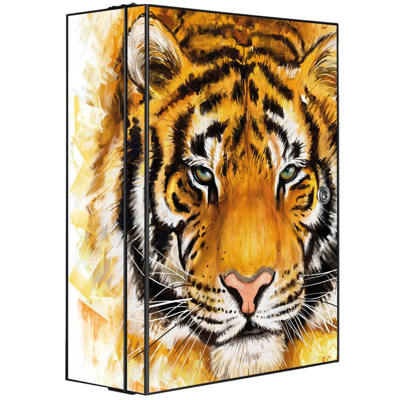 Medizinschrank Stahl Motiv Tigerkopf