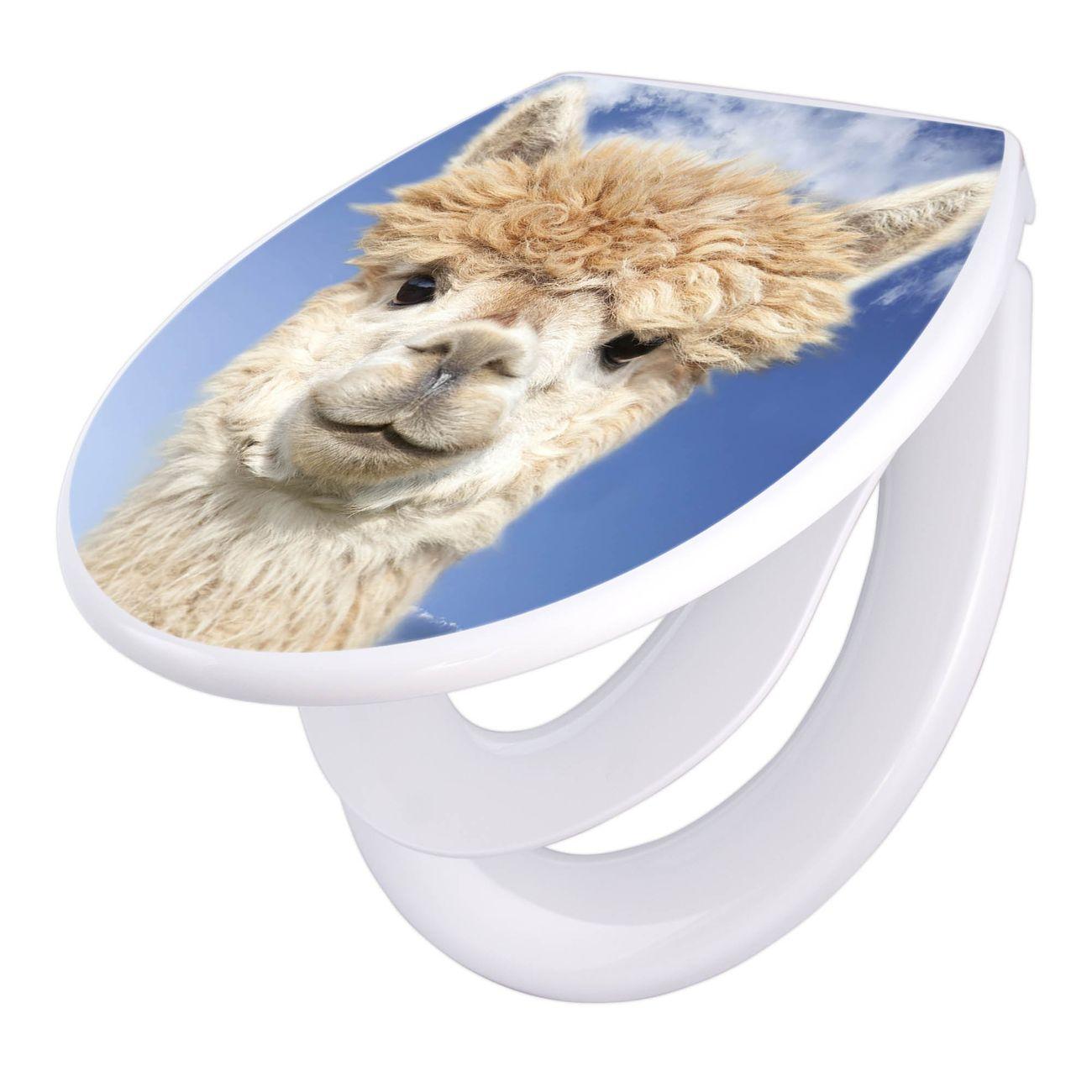 Toilettendeckel weiß mit Absenkautomatik Motiv Lama