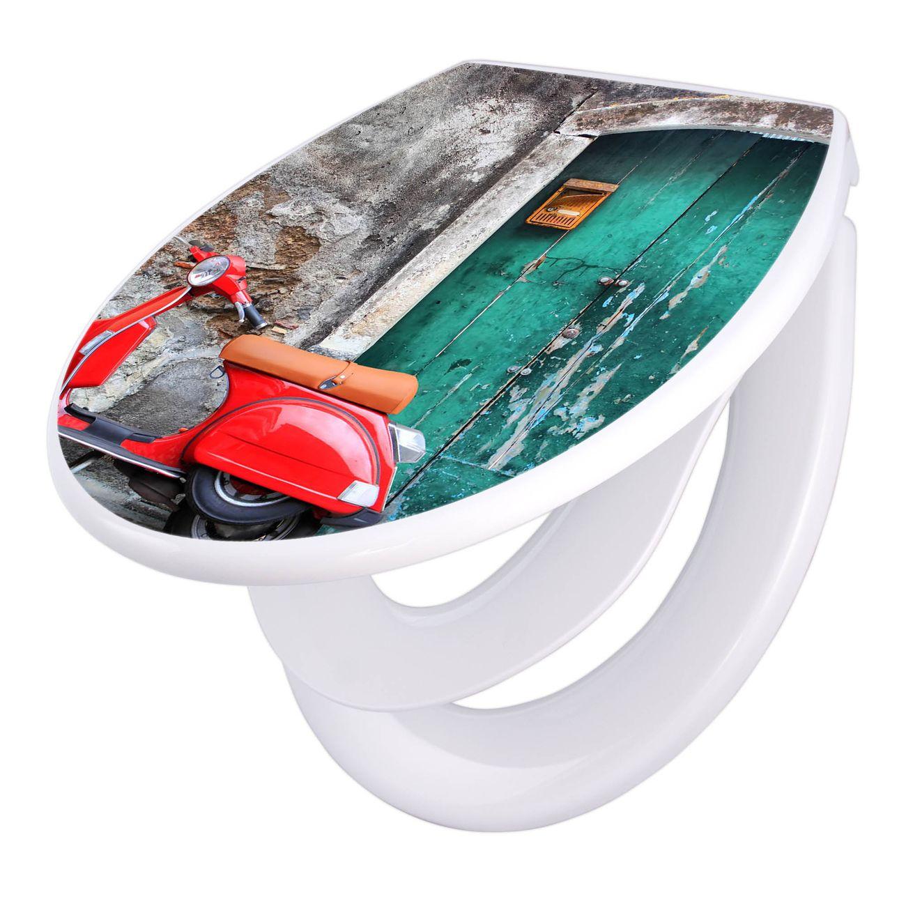 Toilettendeckel weiß mit Absenkautomatik Motiv Italienischer Roller