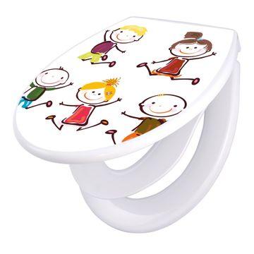Toilettendeckel weiß mit Absenkautomatik Motiv Happy Kids