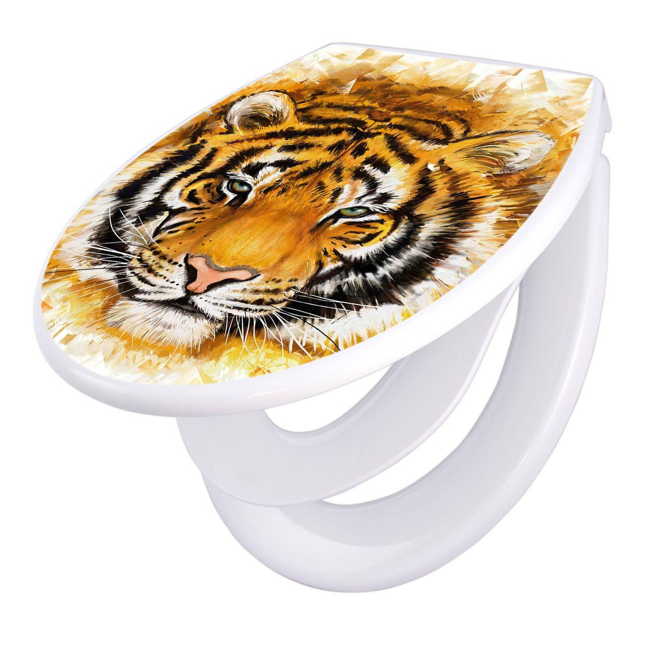 Toilettendeckel weiß mit Absenkautomatik Motiv Tigerkopf