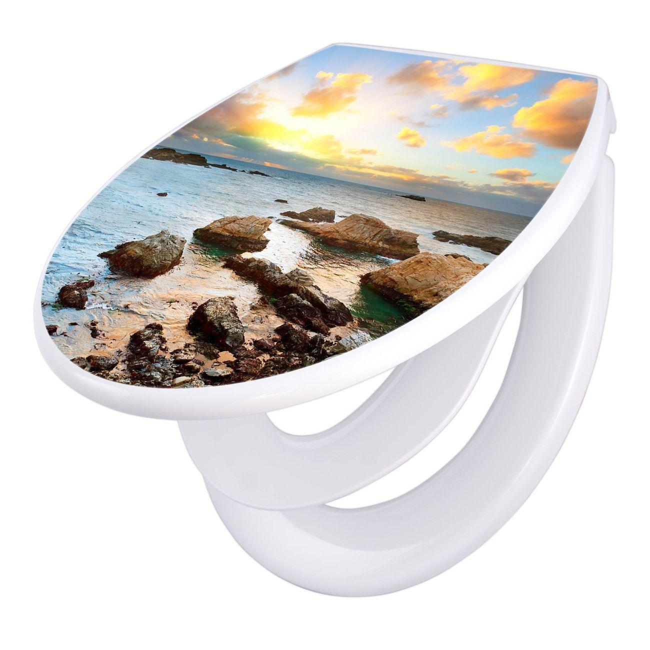Toilettendeckel weiß mit Absenkautomatik Motiv Sonnenaufgang am Meer