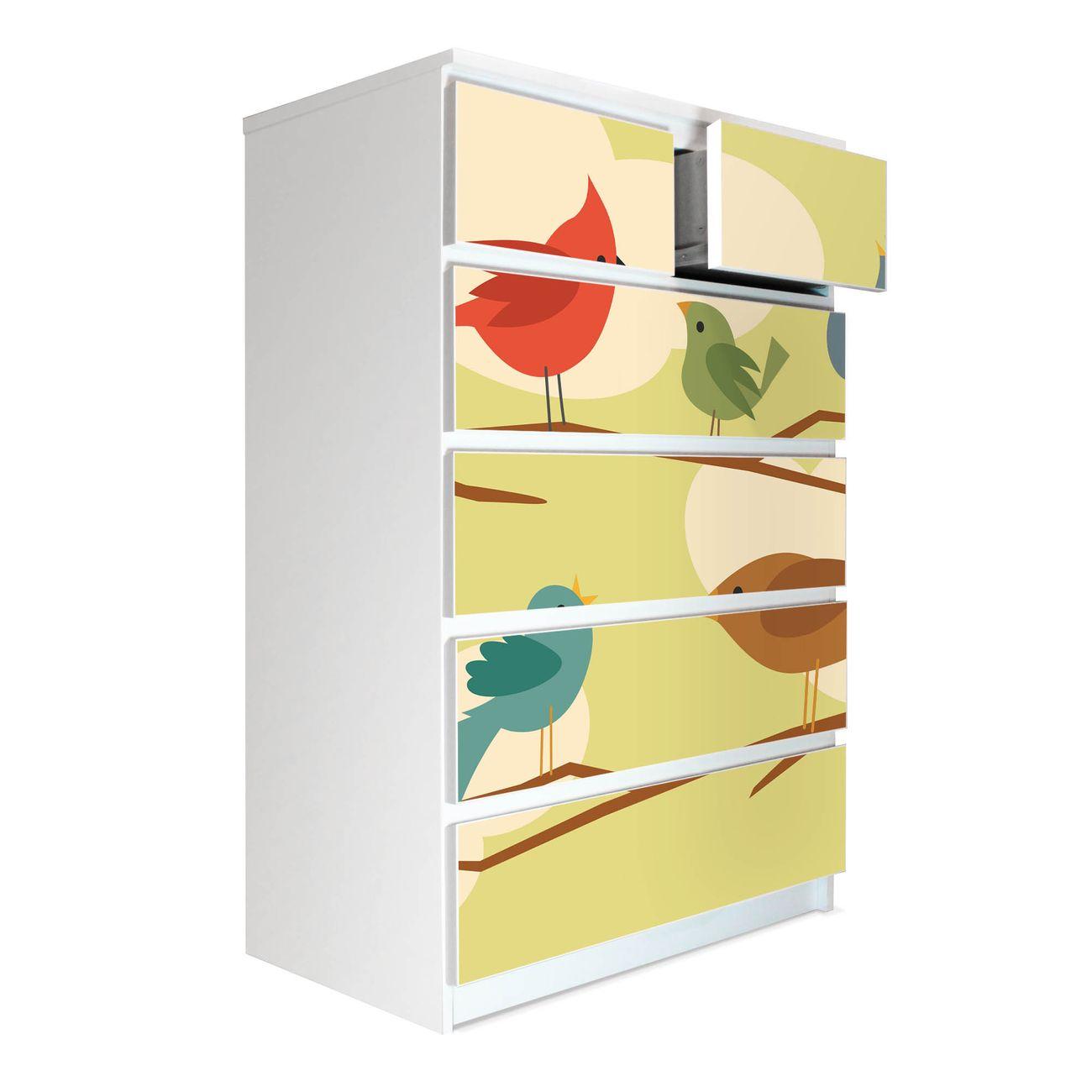 Möbelsticker für Ikea MALM Motiv Fünf Vögel