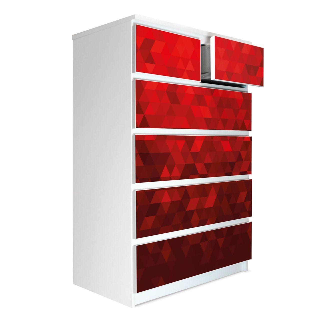 Möbelsticker für Ikea MALM Motiv Dreiecke Rot