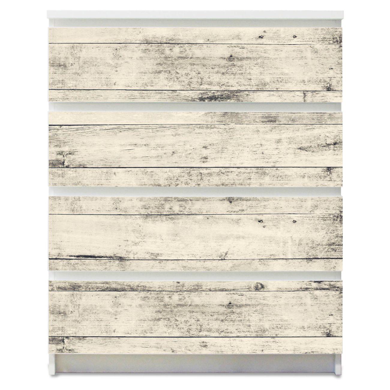 Möbelsticker für Ikea MALM Motiv Weiße Planken H
