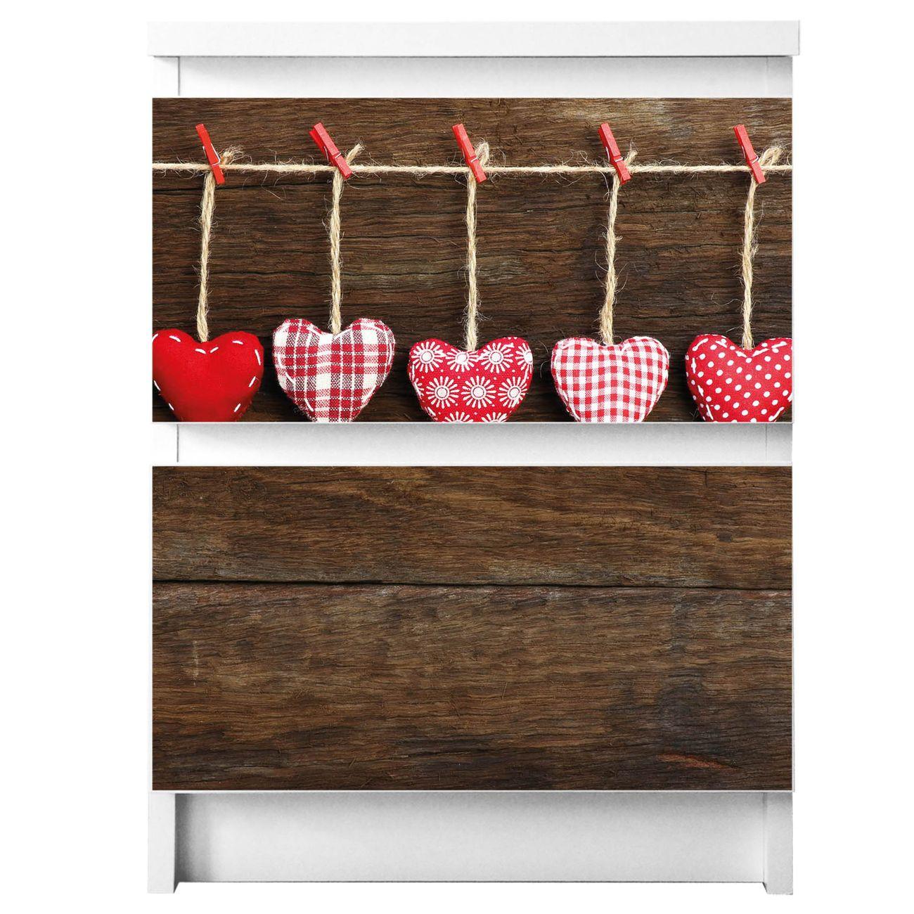 Möbelsticker für Ikea MALM Motiv Kleine Herzen