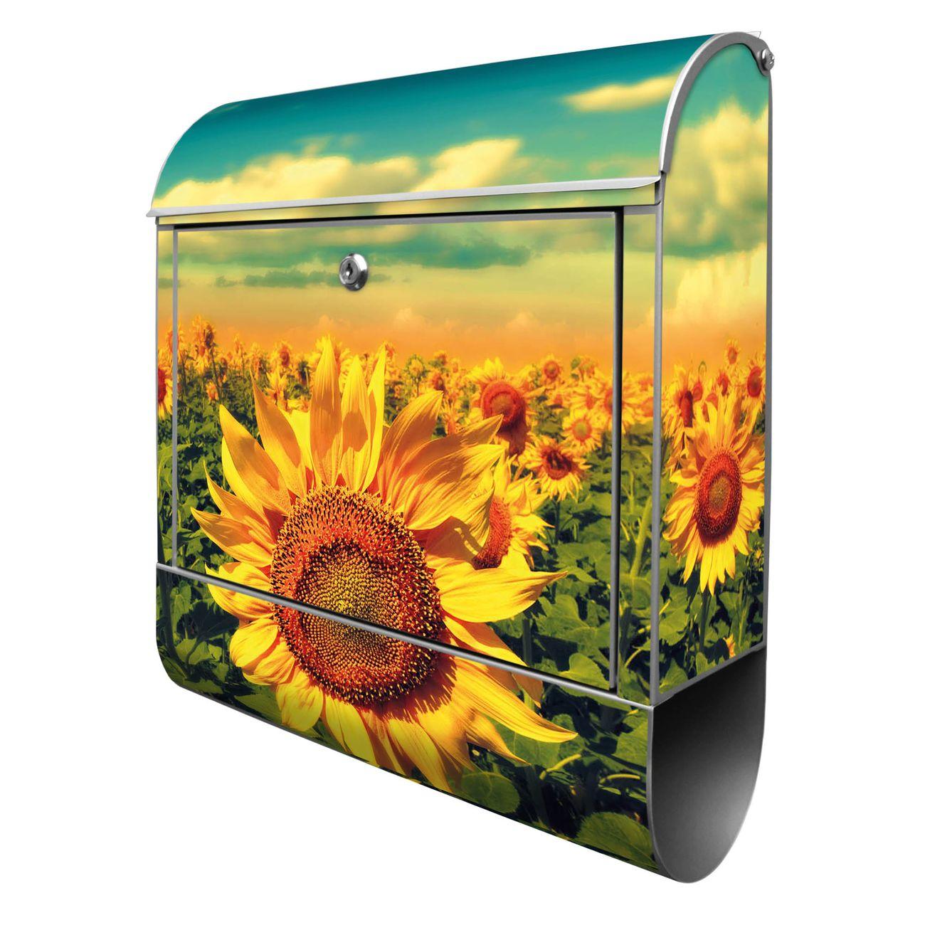 Großer Stahl Briefkasten Sonnenblumen