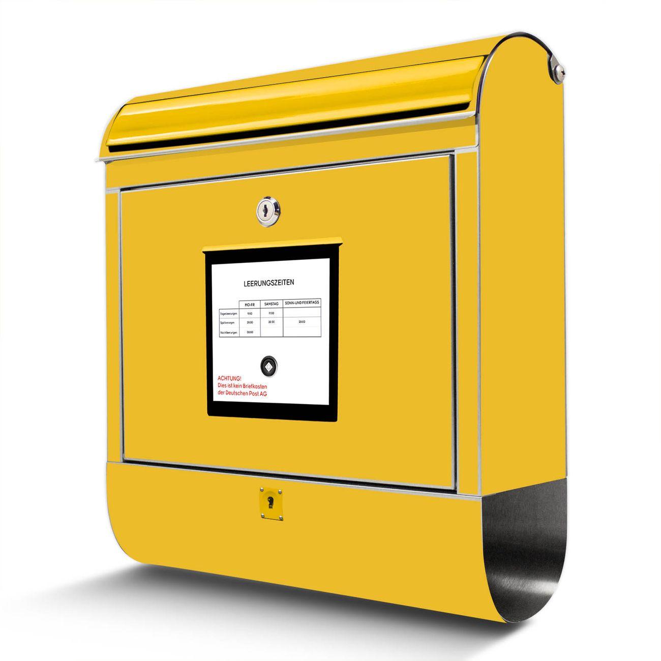 Wandbriefkasten Edelstahl Briefkasten Gelb