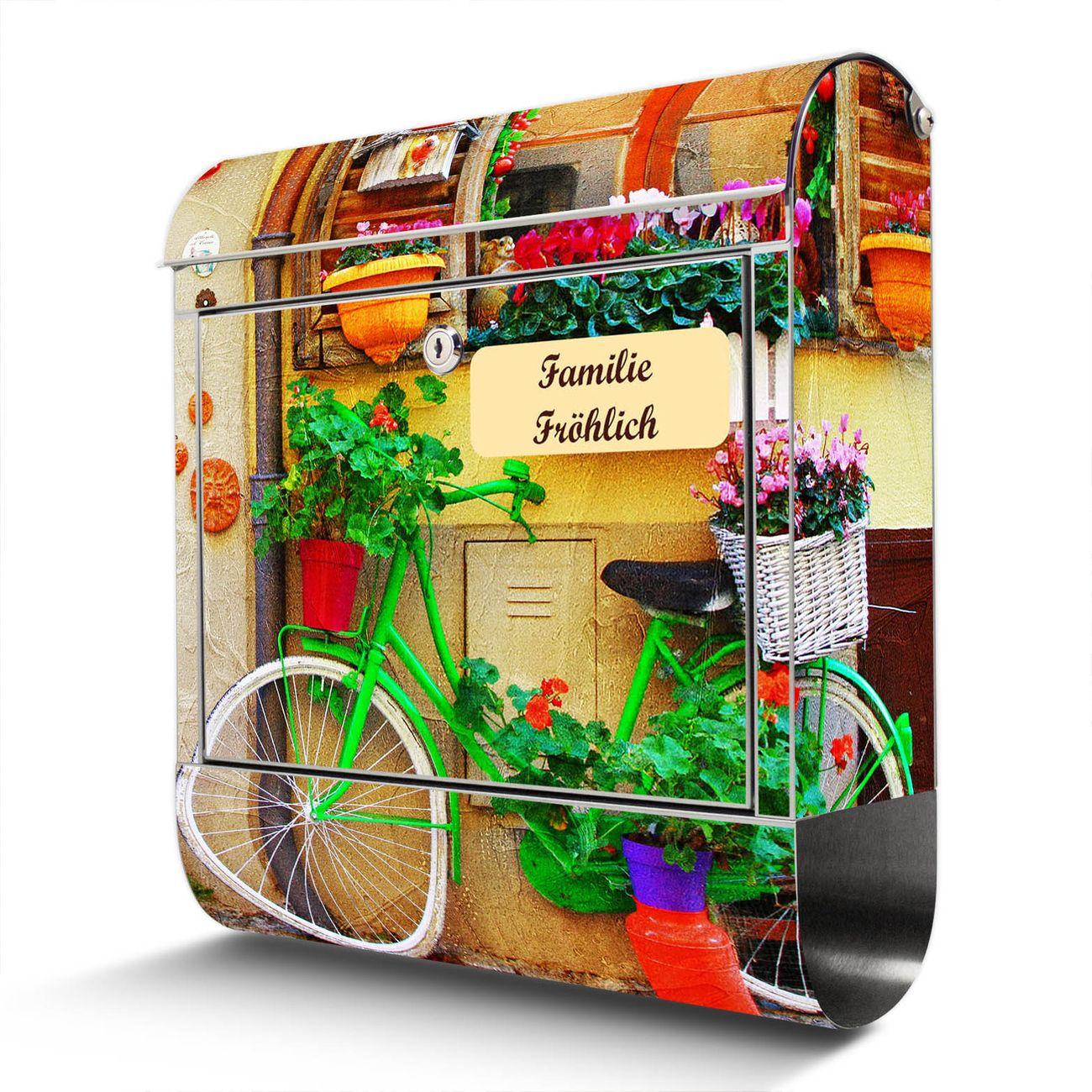 Wandbriefkasten Edelstahl Grünes Fahrrad