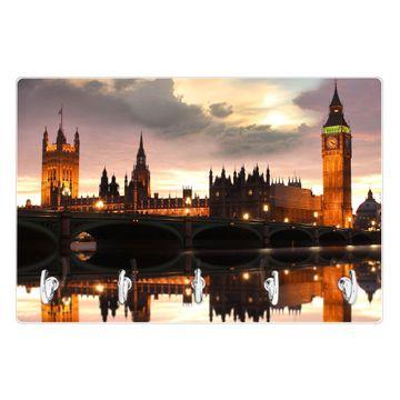 Glas Schlüsselbrett mit 5 Haken Palace of Westminster