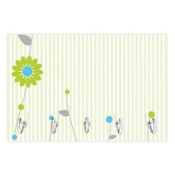 Glas Schlüsselbrett mit 5 Haken Zarte Blumen
