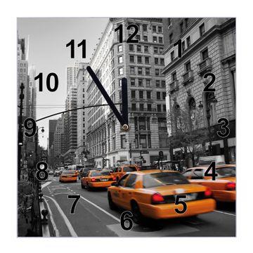 Glasuhr quadratisch Motiv New York Taxi