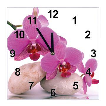 Glasuhr quadratisch Motiv Orchidee