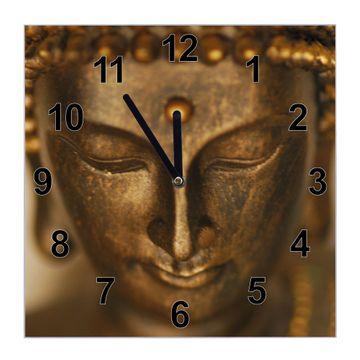 Glasuhr quadratisch Motiv Buddha Gold