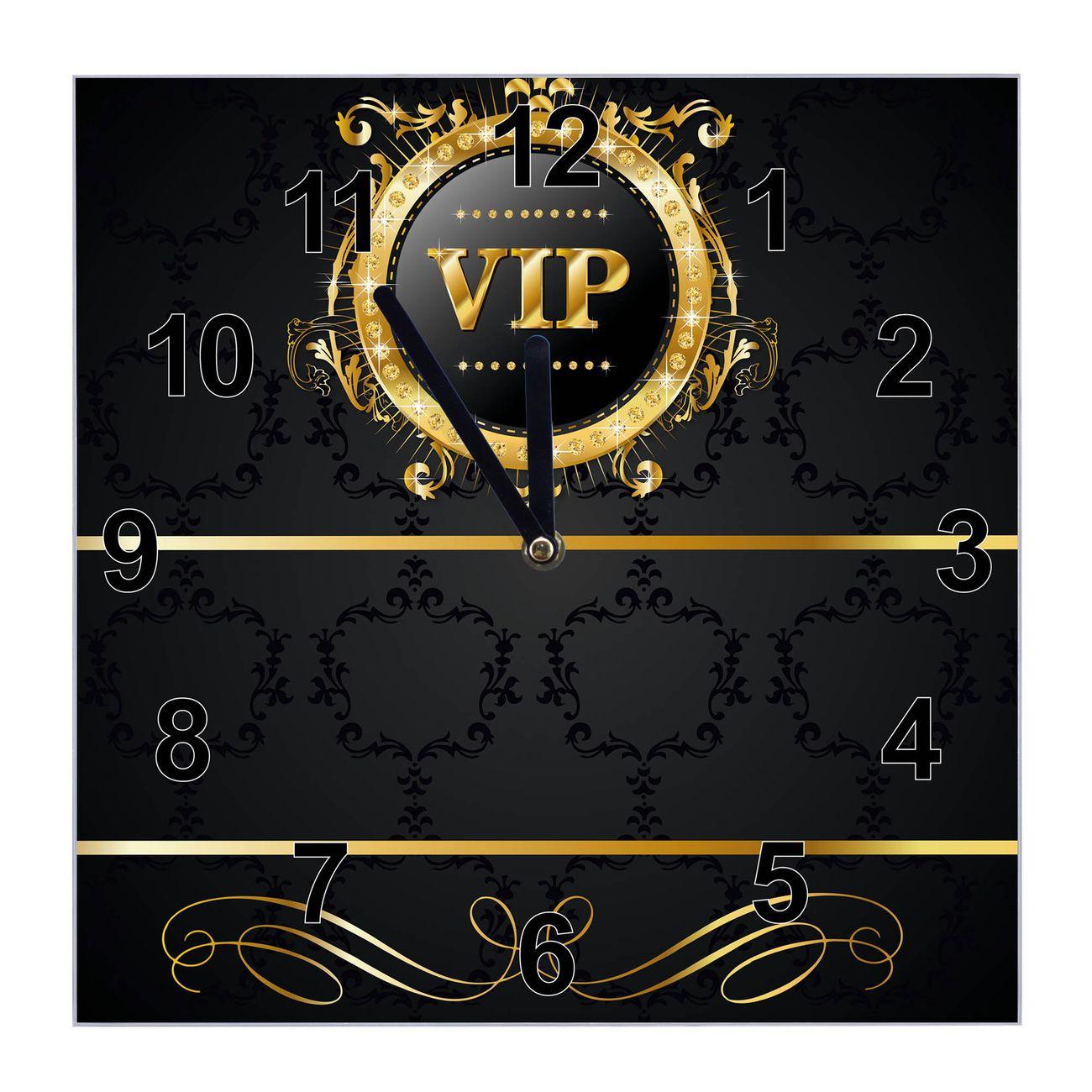 Glasuhr quadratisch Motiv VIP