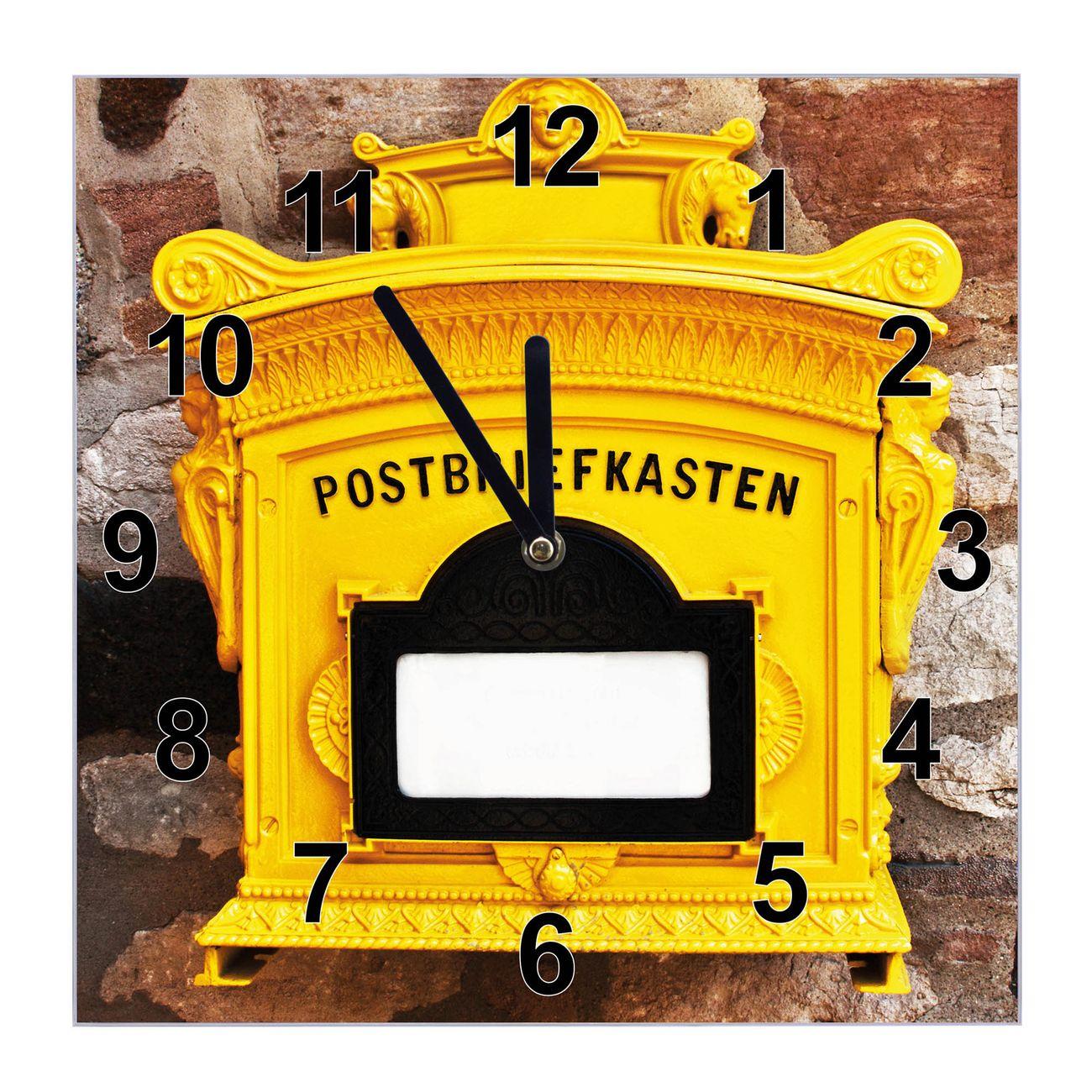 Glasuhr quadratisch Motiv Historischer Postkasten