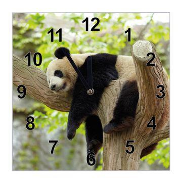 Glasuhr quadratisch Motiv Panda