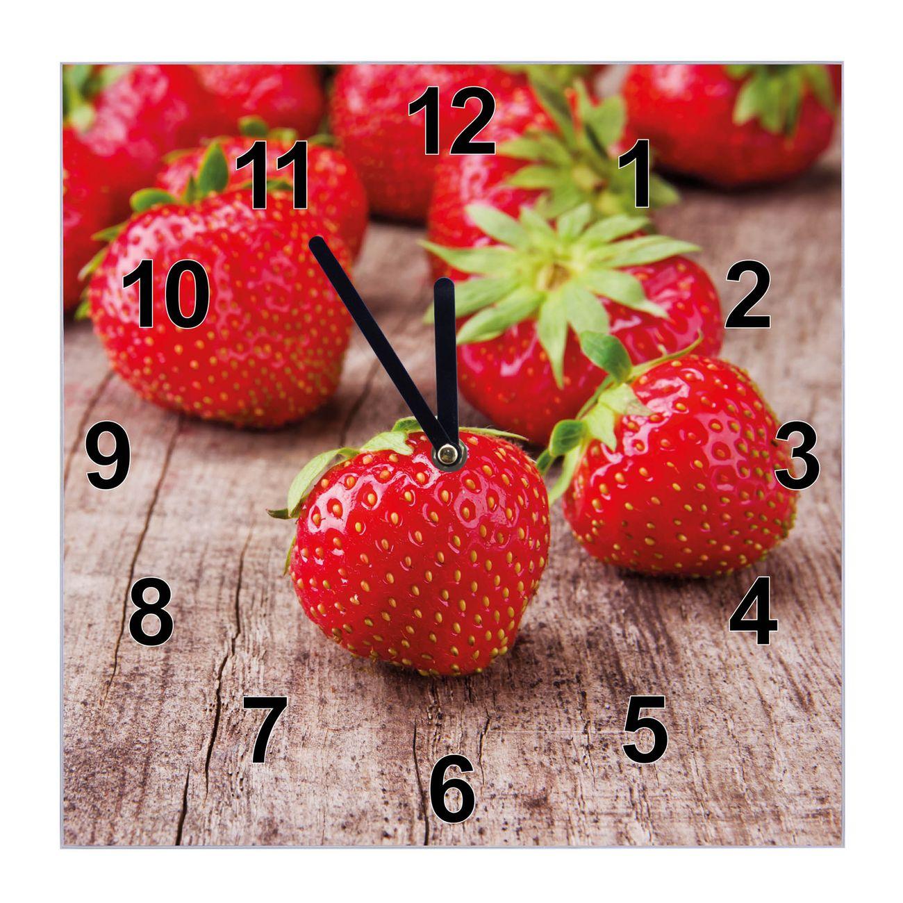 Glasuhr quadratisch Motiv Erdbeeren