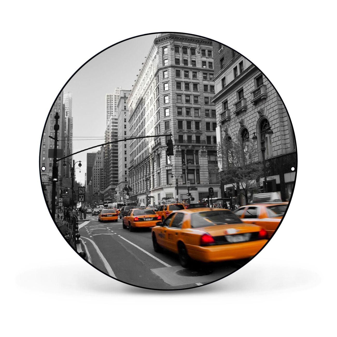 Magnettafel rund schwarz New York Taxi – Bild 1