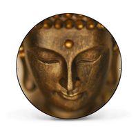 Magnettafel rund schwarz Buddha Gold