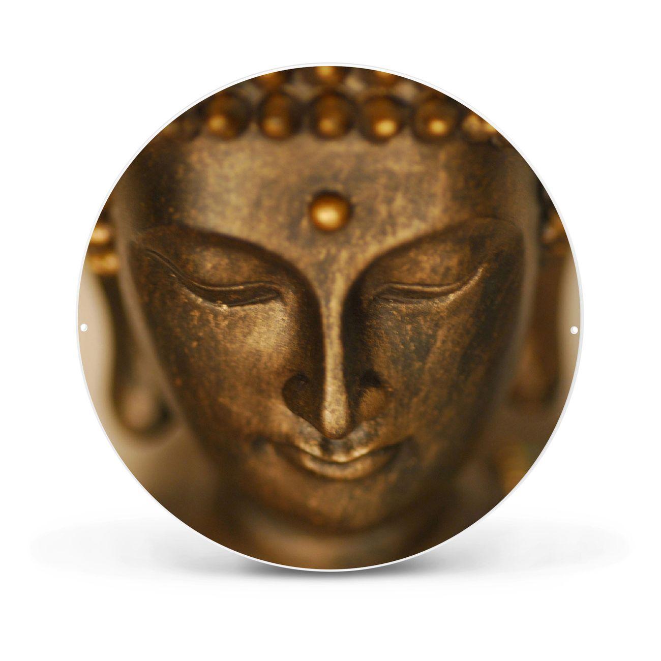 Magnettafel rund weiß Buddha Gold – Bild 1