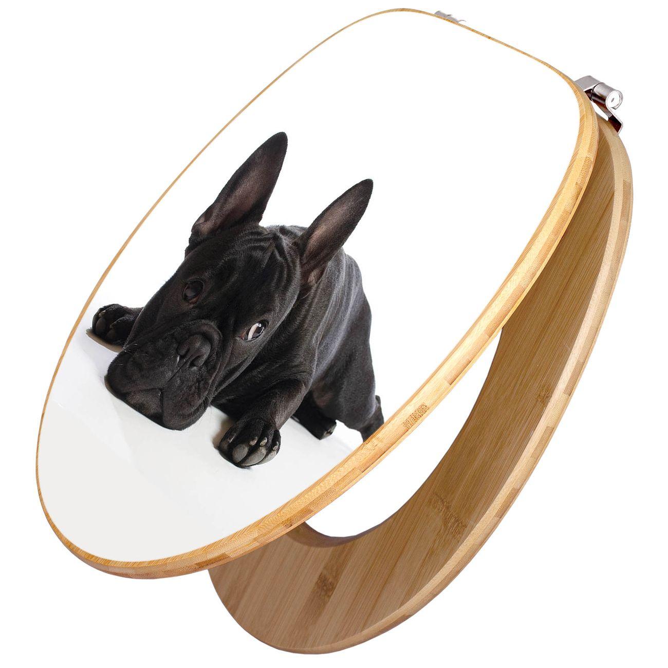 Design WC-Sitz Bambus Holz Motiv Bulldogge