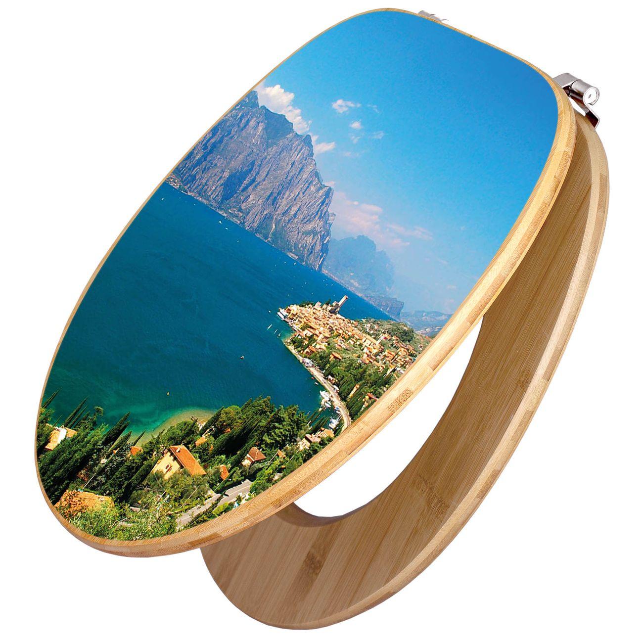 Design WC-Sitz Bambus Holz Motiv Gardasee