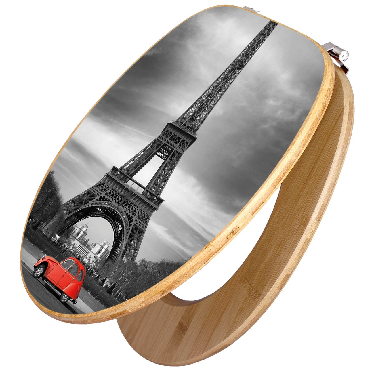 Design WC-Sitz Bambus Holz Motiv Paris