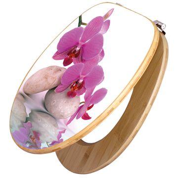 Design WC-Sitz Bambus Holz Motiv Orchidee