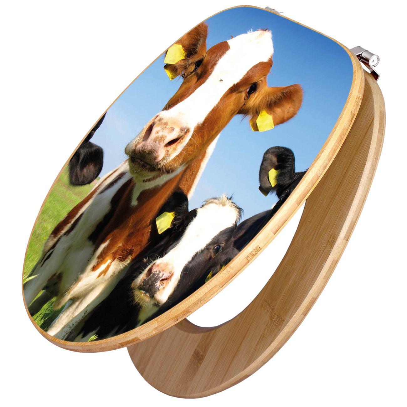 Design WC-Sitz Bambus Holz Motiv Kühe