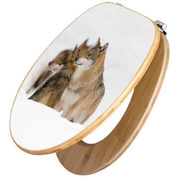 Design WC-Sitz Bambus Holz Motiv Wölfe