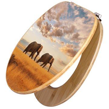 Design WC-Sitz Bambus Holz Motiv Elefanten