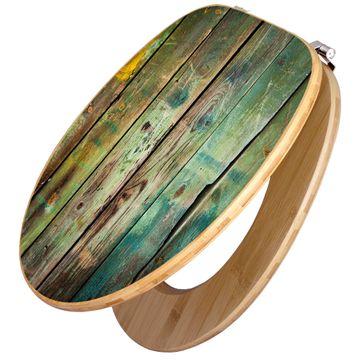 Design WC-Sitz Bambus Holz Motiv Grünes Holz